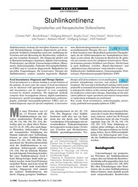 Stuhlinkontinenz: Diagnostisches und therapeutisches Stufenschema