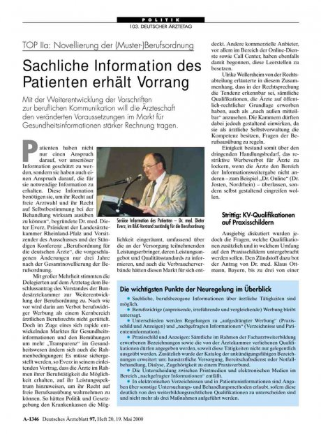 TOP IIa: Novellierung der (Muster-)Berufsordnung: Sachliche Information des Patienten erhält Vorrang