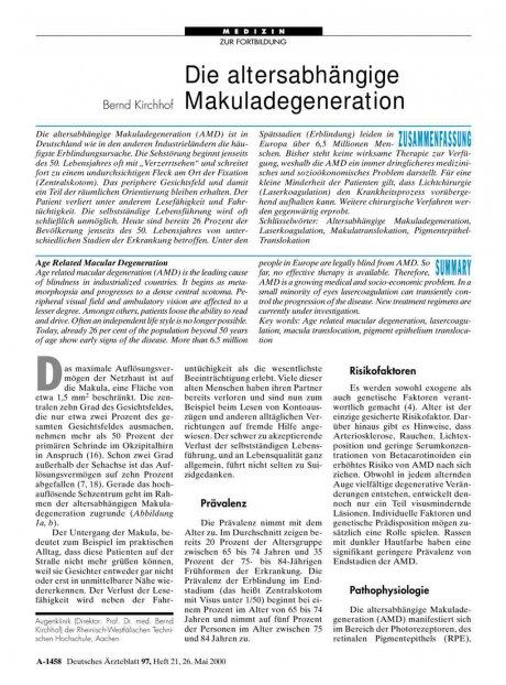Die altersabhängige Makuladegeneration