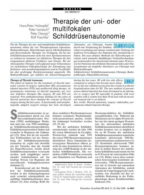 Therapie der uni- oder multifokalen Schilddrüsenautonomie