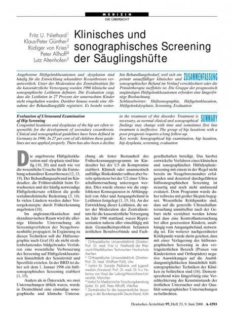 Klinisches und sonographisches Screening der Säuglingshüfte