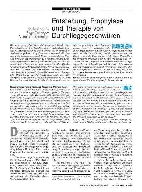 Entstehung, Prophylaxe und Therapie von Durchliegegeschwüren