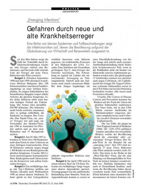 """""""Emerging Infections"""": Gefahren durch neue und alte Krankheitserreger"""