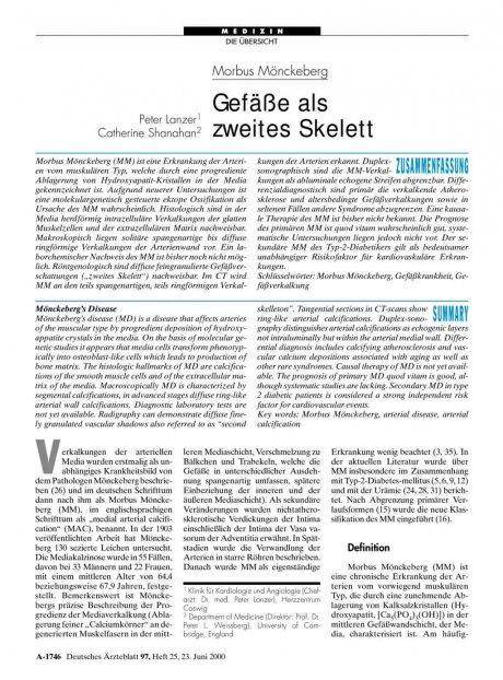 Morbus Mönckeberg: Gefäße als zweites Skelett