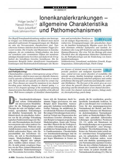Ionenkanalerkrankungen – allgemeine Charakteristika und Pathomechanismen