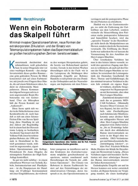 Herzchirurgie: Wenn ein Roboterarm das Skalpell führt