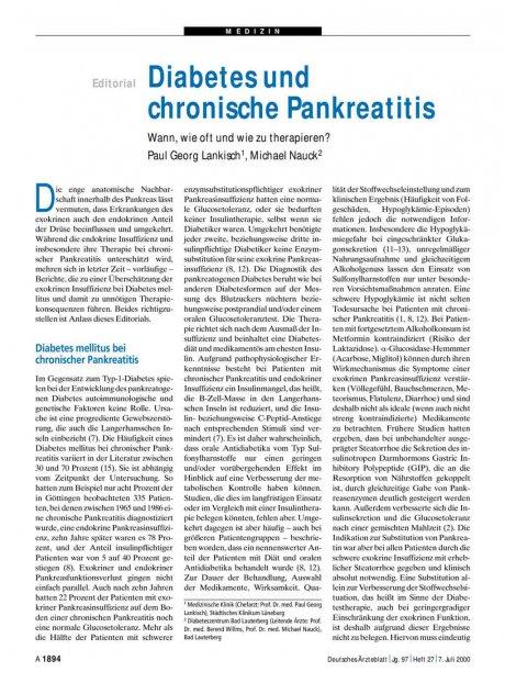 Diabetes und chronische Pankreatitis: Wann, wie oft und wie zu therapieren?