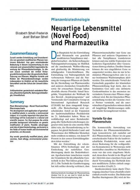 Pflanzenbiotechnologie: Neuartige Lebensmittel (Novel Food) und Pharmazeutika