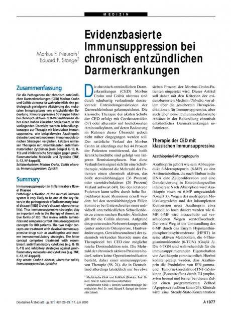 Evidenzbasierte Immunsuppression bei chronisch entzündlichen Darmerkrankungen