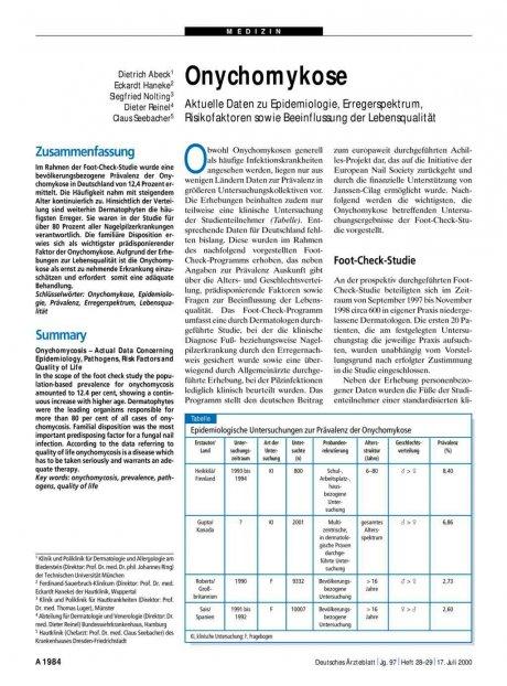 Onychomykose: Aktuelle Daten zu Epidemiologie, Erregerspektrum, Risikofaktoren sowie Beeinflussung der Lebensqualität