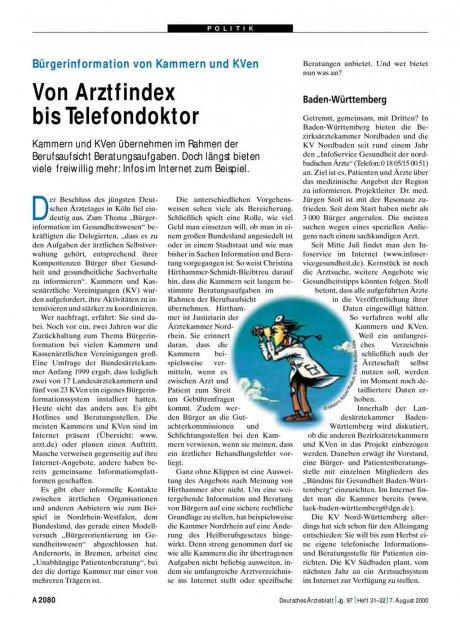 Bürgerinformation von Kammern und KVen: Von Arztfindex bis Telefondoktor