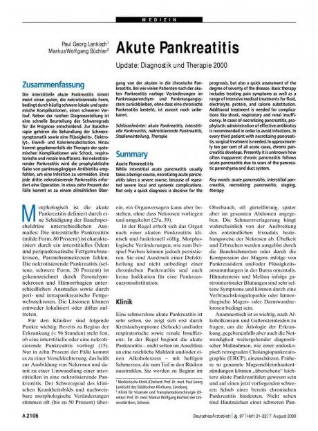 Akute Pankreatitis – Update: Diagnostik und Therapie 2000