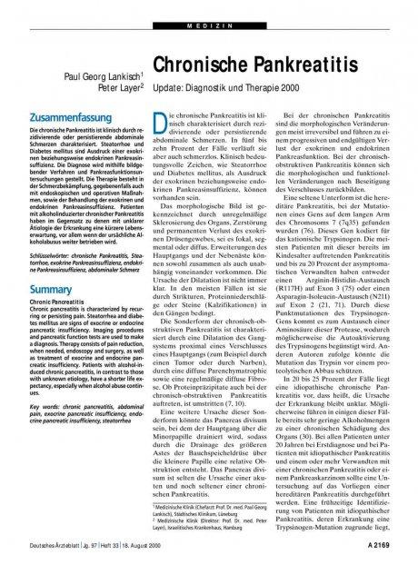Chronische Pankreatitis: Update - Diagnostik und Therapie 2000