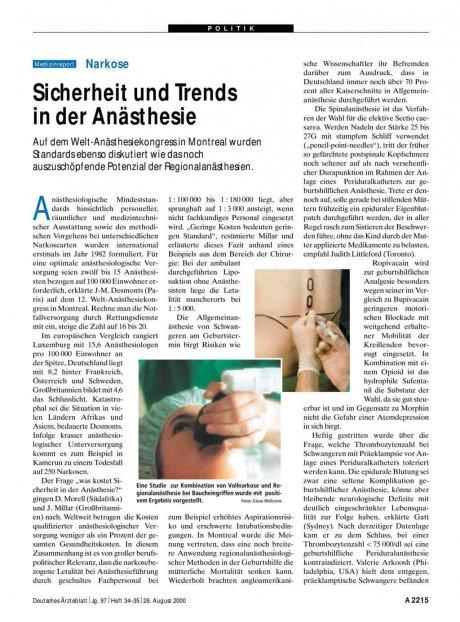 Narkose: Sicherheit und Trends in der Anästhesie