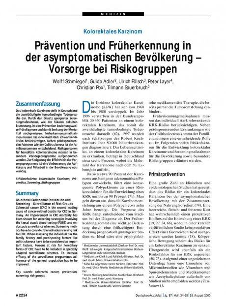 Kolorektales Karzinom: Prävention und Früherkennung in der asymptomatischen Bevölkerung – Vorsorge bei Risikogruppen