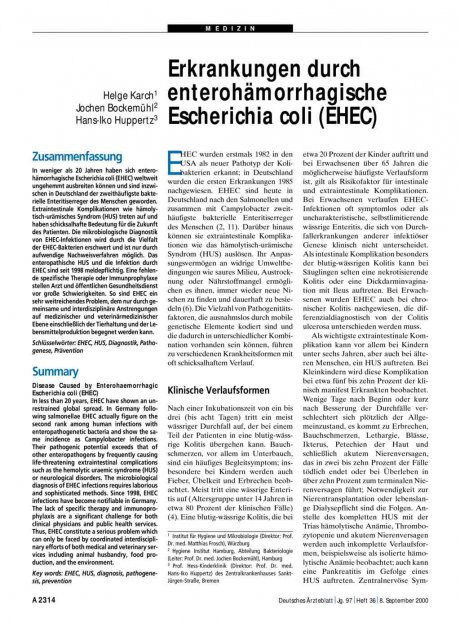 Erkrankungen durch enterohämorrhagische Escherichia coli (EHEC)