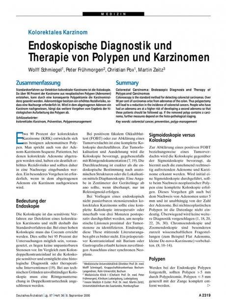 Kolorektales Karzinom: Endoskopische Diagnostik und Therapie von Polypen und Karzinomen