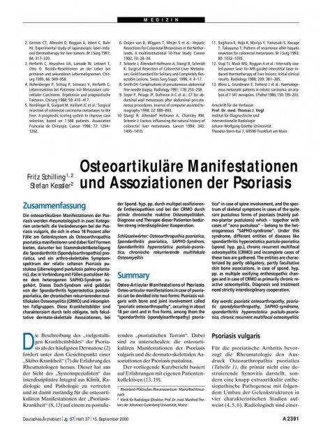 Osteoartikuläre Manifestationen und Assoziationen der Psoriasis