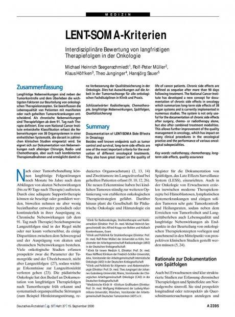 LENT-SOMA-Kriterien: Interdisziplinäre Bewertung von langfristigen Therapiefolgen in der Onkologie