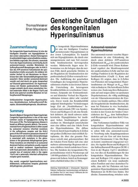 Genetische Grundlagen des kongenitalen Hyperinsulinismus