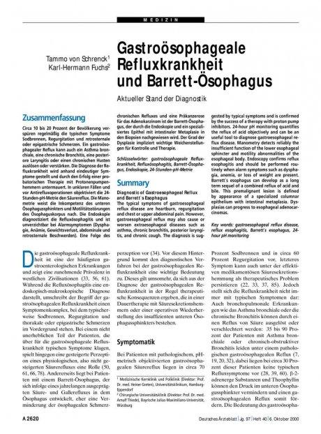 Gastroösophageale Refluxkrankheit und Barrett-Ösophagus: Aktueller Stand der Diagnostik