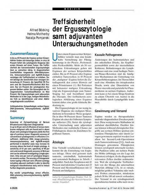 Treffsicherheit der Ergusszytologie samt adjuvanten Untersuchungsmethoden