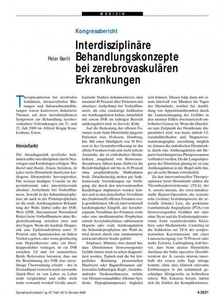 Kongressbericht: Interdisziplinäre Behandlungskonzepte bei zerebrovaskulären Erkrankungen