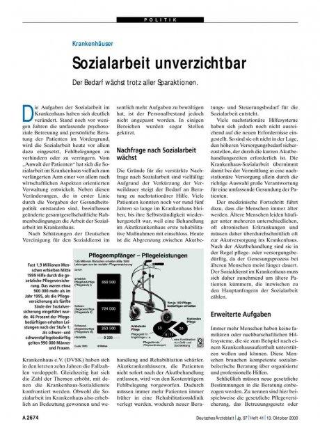 Krankenhäuser: Sozialarbeit unverzichtbar