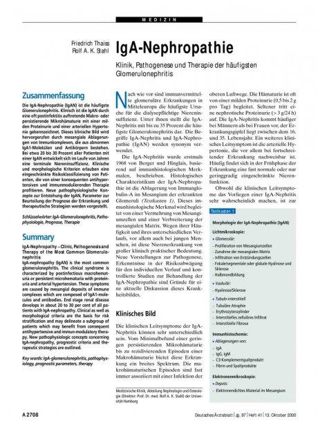 IgA-Nephropathie: Klinik, Pathogenese und Therapie der häufigsten Glomerulonephritis