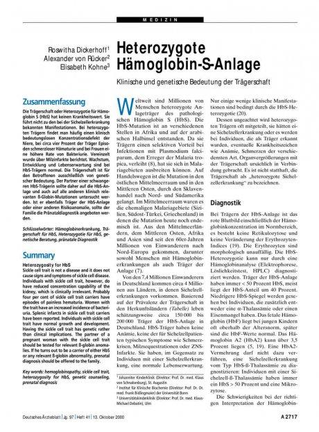 Heterozygote Hämoglobin-S-Anlage: Klinische und genetische Bedeutung der Trägerschaft