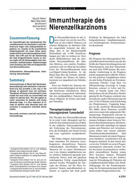 Immuntherapie des Nierenzellkarzinoms