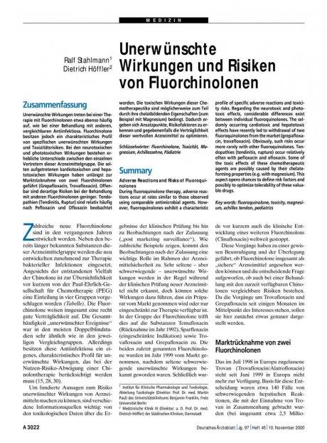 Unerwünschte Wirkungen und Risiken von Fluorchinolonen