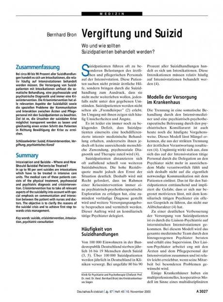Vergiftung und Suizid : Wo und wie sollten Suizidpatienten behandelt werden?