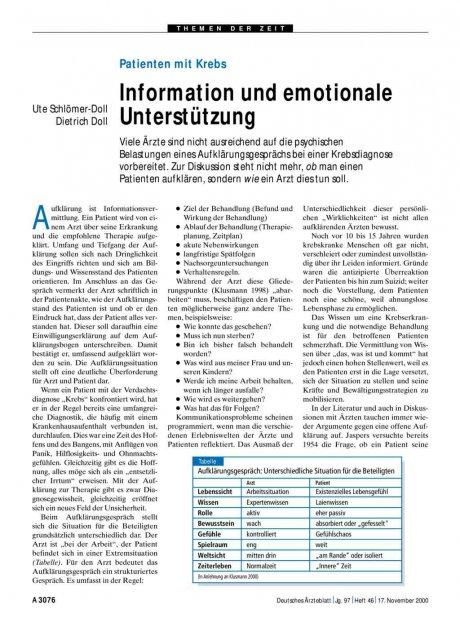Patienten mit Krebs: Information und emotionale Unterstützung