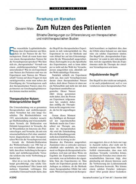 Forschung am Menschen: Zum Nutzen des Patienten