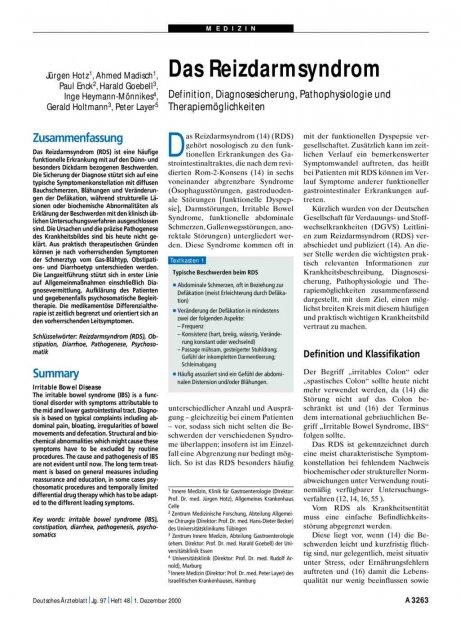 Das Reizdarmsyndrom: Definition, Diagnosesicherung, Pathophysiologie und Therapiemöglichkeiten