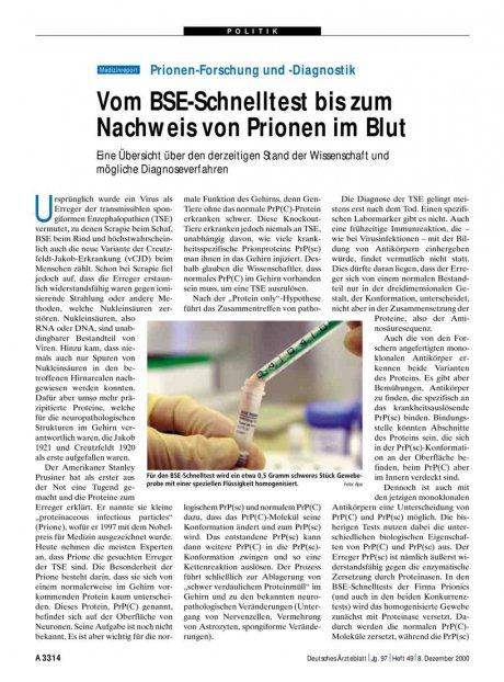 Prionen-Forschung und -Diagnostik: Vom BSE-Schnelltest bis zum Nachweis von Prionen im Blut