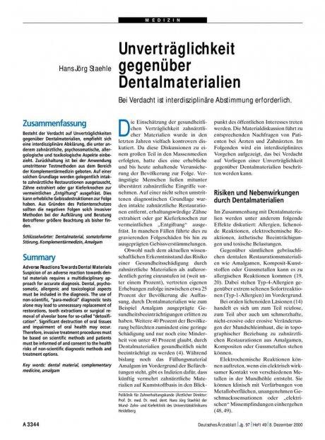 Unverträglichkeit gegenüber Dentalmaterialien: Bei Verdacht ist interdisziplinäre Abstimmung erforderlich