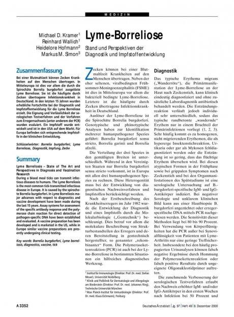 Lyme-Borreliose: Stand und Perspektiven der Diagnostik und Impfstoffentwicklung