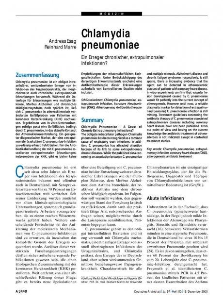 Chlamydia pneumoniae: Ein Erreger chronischer, extrapulmonaler Infektionen?