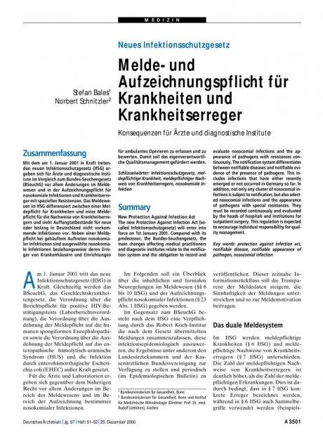 Neues Infektionsschutzgesetz: Melde- und Aufzeichnungspflicht für Krankheiten und Krankheitserreger