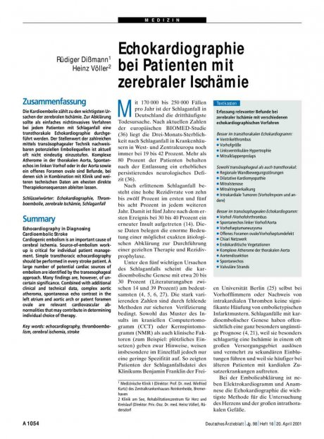 Echokardiographie bei Patienten mit zerebraler Ischämie