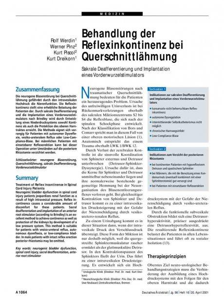 Behandlung der Reflexinkontinenz bei Querschnittlähmung