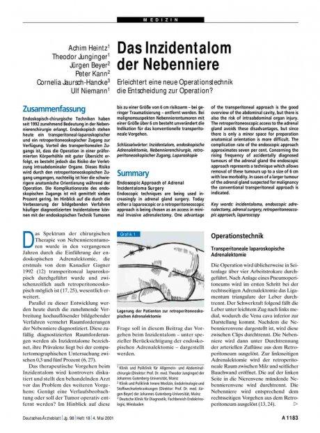 Das Inzidentalom der Nebenniere: Erleichtert eine neue Operationstechnik die Entscheidung zur Operation?