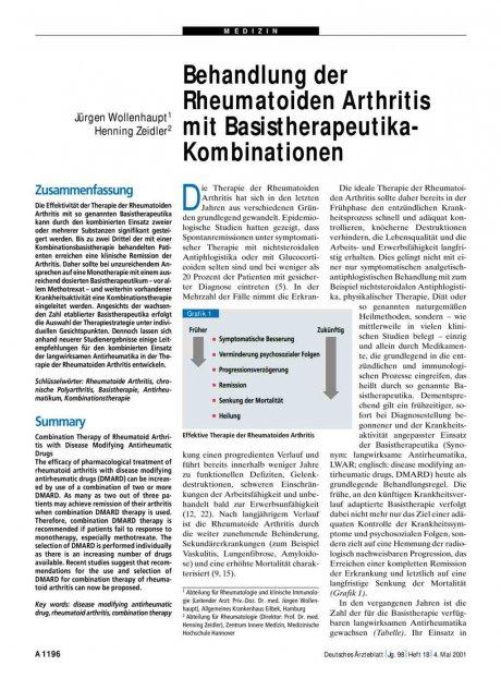 Behandlung der Rheumatoiden Arthritis mit Basistherapeutika-Kombinationen