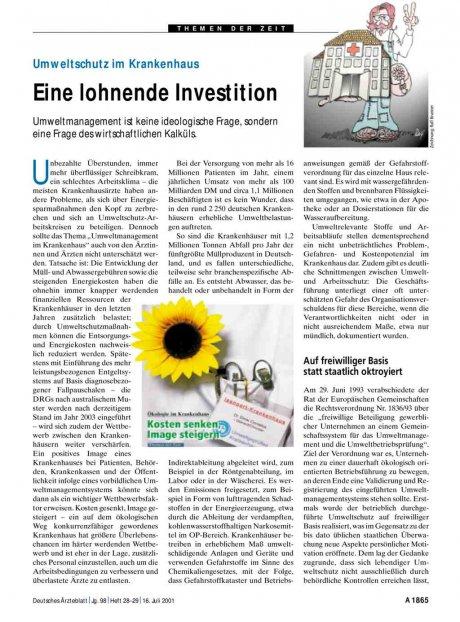 Umweltschutz im Krankenhaus: Eine lohnende Investition
