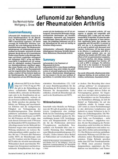 Leflunomid zur Behandlung der Rheumatoiden Arthritis