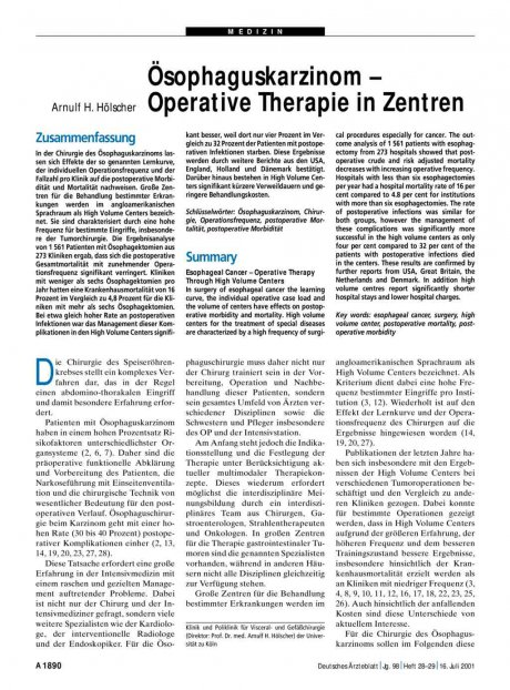 Ösophaguskarzinom – Operative Therapie in Zentren