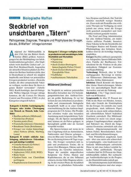 """Biologische Waffen: Steckbrief von unsichtbaren """"Tätern"""""""