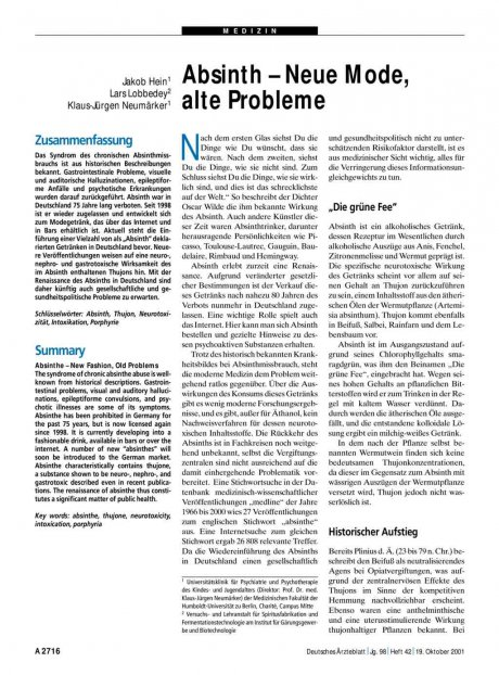 Absinth – Neue Mode, alte Probleme